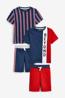 Red/Navy/White 2 Pack Vertical Stripe Short Pyjamas (3-16yrs)