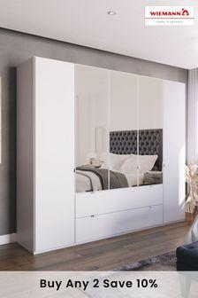 White Matt Monroe Five Door Combination Wardrobe With Mirror