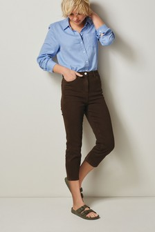 Chocolate Cropped Slim Jeans