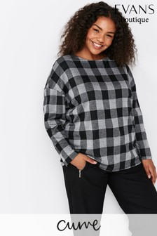 Evans Curve Grey Checkered Lounge Top
