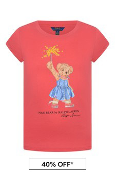 Girls Red Cotton Bear T-Shirt