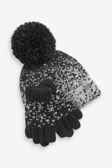 Monochrome 2 Piece Pixel Hat And Gloves Set (Older)