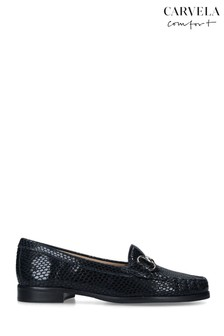 Carvela Blue Click Printed Leather Loafers