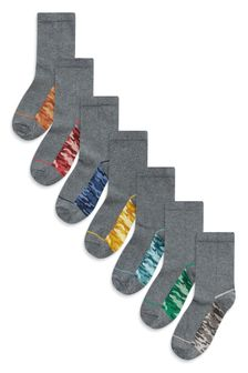 Grey Camo 7 Pack Socks (Older)