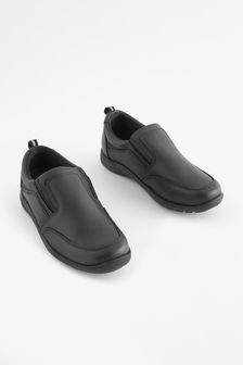 Black Standard Fit (F) Leather Loafers (Older)