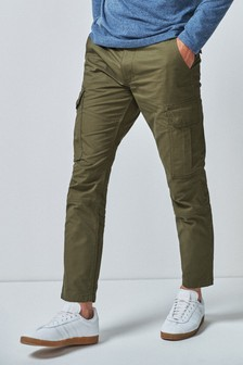 Green Slim Fit Cotton Cargo Trousers