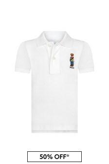 قميص بولو أبيض للأولاد البيبي