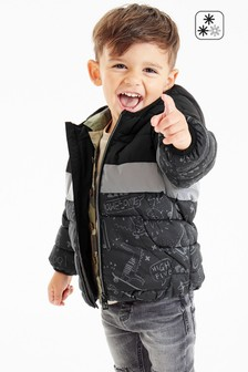 Black Colourblock Puffer Jacket (3mths-7yrs)
