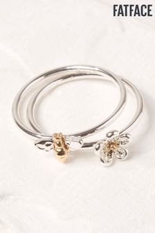 FatFace Silver Bee And Flower Ring