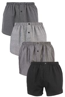 Black/Grey Pattern Woven Boxers Pure Cotton Four Pack