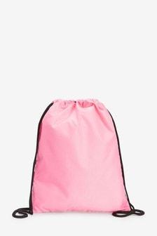 Pink Drawstring Bag With Internal Zip Pocket