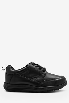Black Standard Fit Leather Lace-Up Shoes (Older)