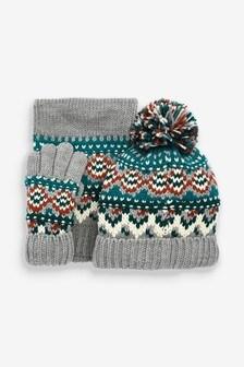 Grey 3 Piece Fairisle Pattern Hat, Gloves And Scarf Set (Older)