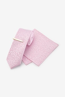 Pink Slim Floral Silk Tie, Pocket Square Set And Tie Clip Set