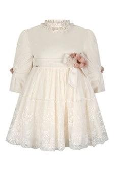Girls Ivory Velvet Tulle Dress
