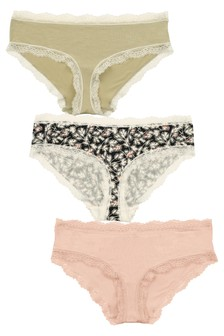 Print/Pink/Sage Short Modal And Lace Midi Knickers Three Pack