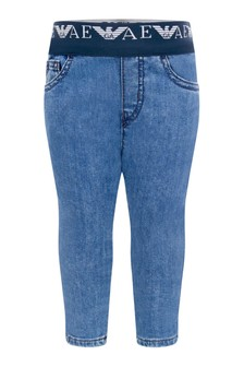Baby Boys Blue Denim Pull-On Jeans