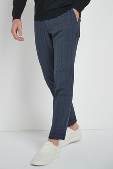 Navy Skinny Fit Check Motionflex Trousers With Elasticated Waist