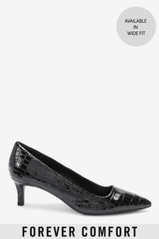 Black Croc Effect Forever Comfort® Kitten Heel Court Shoes
