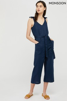 Monsoon Blue Carletta Linen Jumpsuit