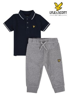 Lyle & Scott Blue Tipped Polo And Jogger Set