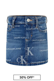 Calvin Klein Jeans Girls Blue Cotton Denim Logo Skirt