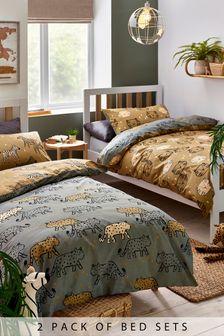 2 Pack 100% Cotton Safari Animals Duvet Cover And Pillowcase Set