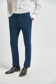 Bright Blue Slim Fit Wool Mix Textured Suit: Trousers