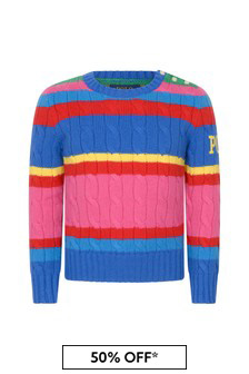 Girls Pink Striped Cotton & Wool Sweater