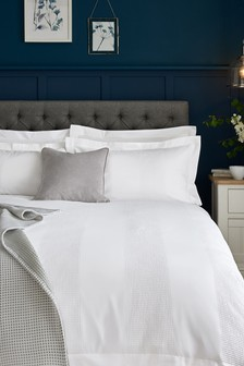 White  300 Thread Count Cotton Waffle Duvet Cover and Pillowcase Set
