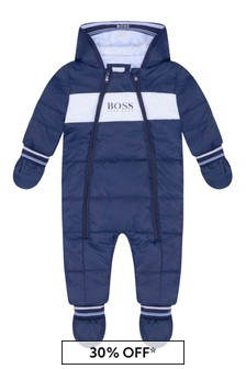 Baby Boys Navy Hooded Snowsuit