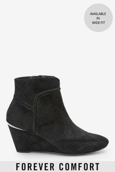 Black Regular/Wide Fit Forever Comfort® Wedge Ankle Boots
