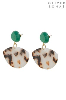 Oliver Bonas Bellerose Round Top & Inlay Resin Drop Earrings