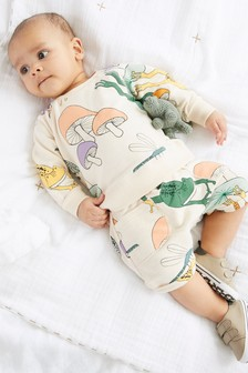 Multi GOTS Organic Frog Sweatshirt And Short Set (0mths-2yrs)