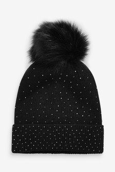 Black Sparkle Pom Hat