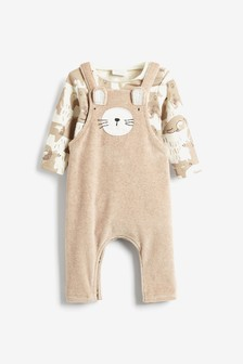 Neutral Character Velour Dungarees And Bodysuit Set (0mths-2yrs)