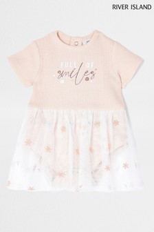 River Island Pink Light Embroidered Mesh Babygrow