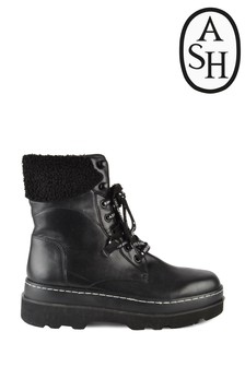 Ash Siberia Black Lace-Up Boots