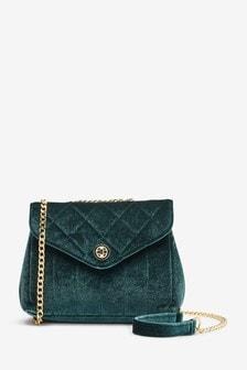 Green Velvet Quilted Chain Cross-Body Bag