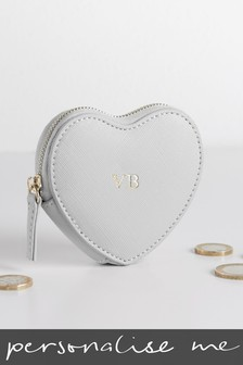 Personalised Grey Heart Purse
