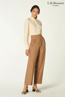 L.K.Bennett Brown Lowe Flannel Pleat Front Trousers