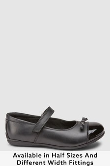 Black Wide Fit (G) Leather Patent Toe Cap Mary Jane Shoes