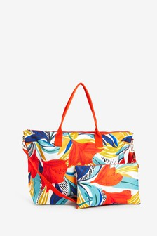 Bright Leaf Print Fold-Away Beach Bag