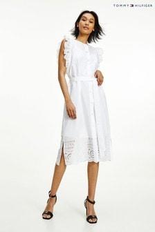 Tommy Hilfiger White Rubi Cutwork Midi Dress