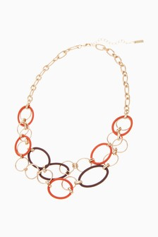 Gold Tone Matte Coated Circles Short Necklace