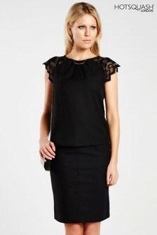 HotSquash Black Lace Sleeved Crepe Top