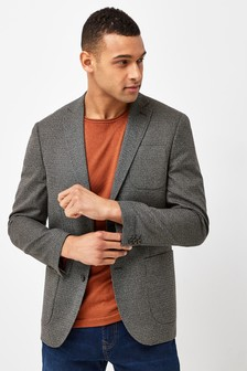 Brown Micro Check Slim Fit Blazer