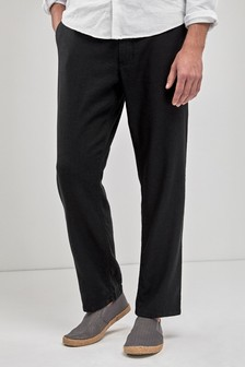 Black Linen Blend Drawstring Trousers