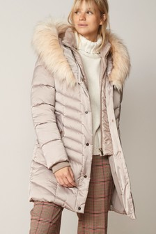 Champagne Faux Fur Padded Jacket