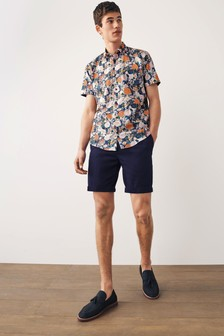 Large Scale Floral Slim Fit Short Sleeve Shirt With Trim Detail